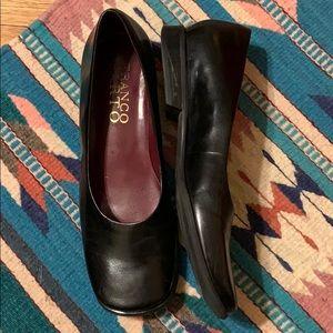 Black Leather Slip Ons